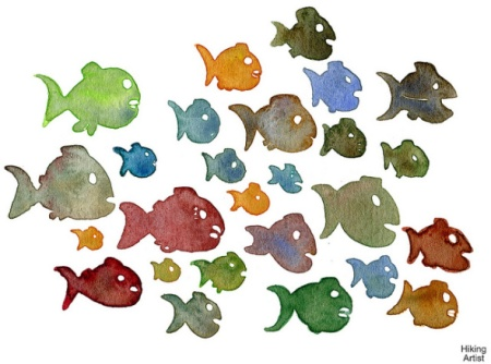 watercolor-fish-school-by-hiking-artist-on-flickr